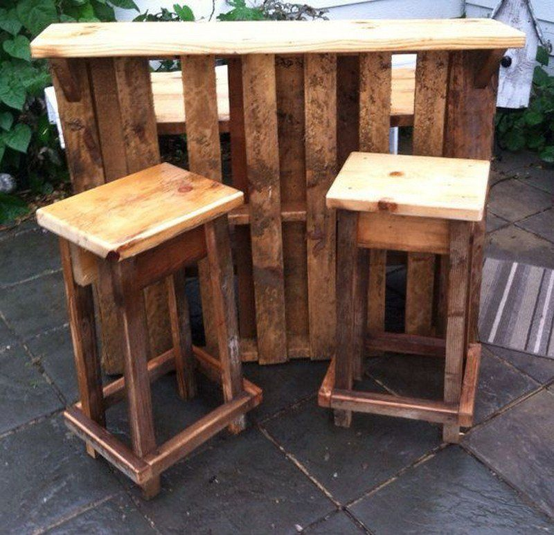 Diy Pallet Outdoor Bar And Stools Pallet Bar Diy Outdoor Bar