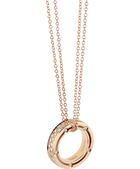 COLLANA IN ORO ROSA CON DIAMANTI (ct 0.65)