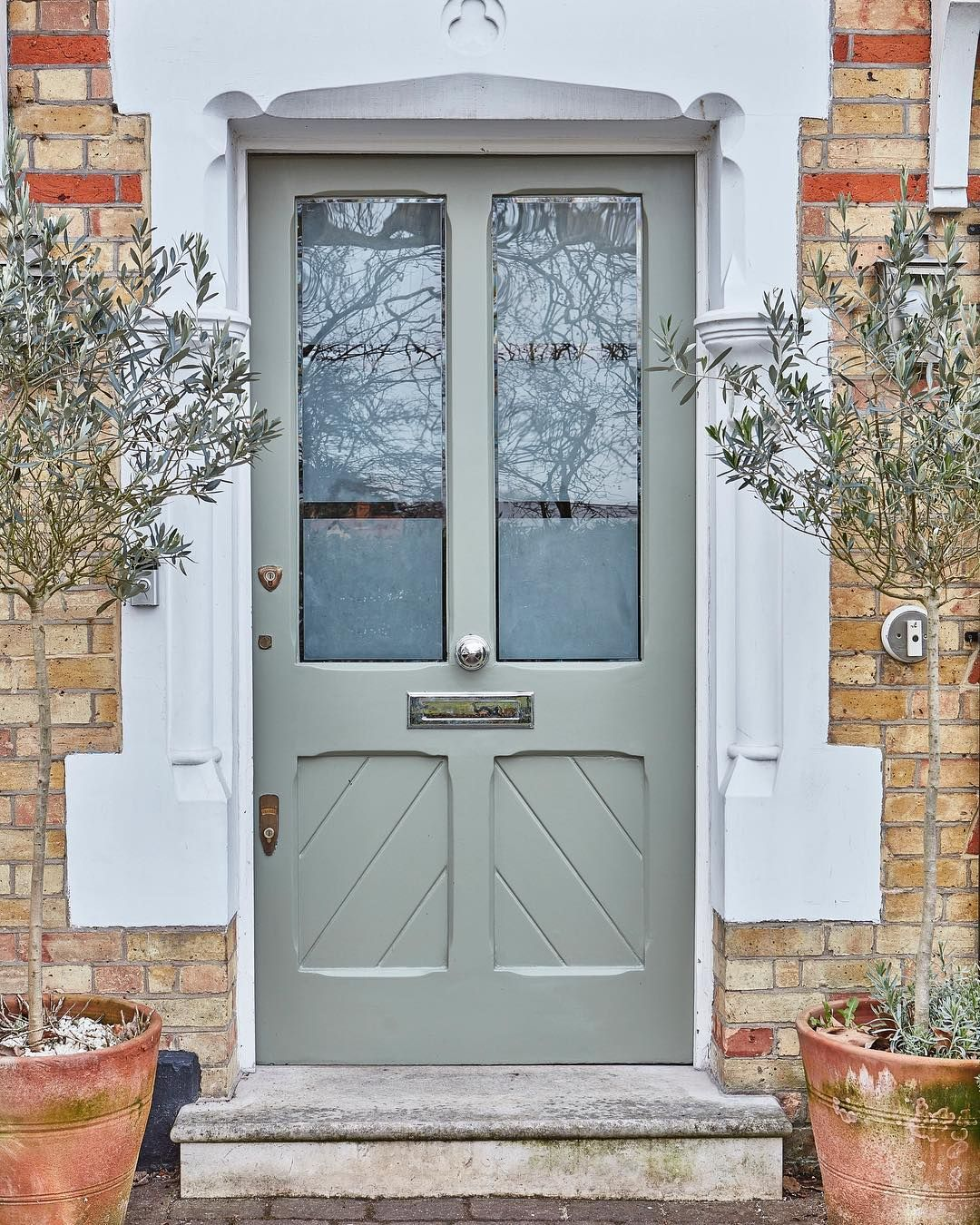 Farrow Ball On Instagram Treron A Beautiful Grey Green Adds A Traditional Feel To Front Door Paint Colors Painted Front Doors Front Door Farrow And Ball