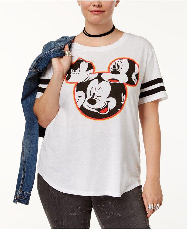 171715295589b Hybrid Trendy Plus Size Mickey Mouse Graphic T-Shirt - White 2X ...