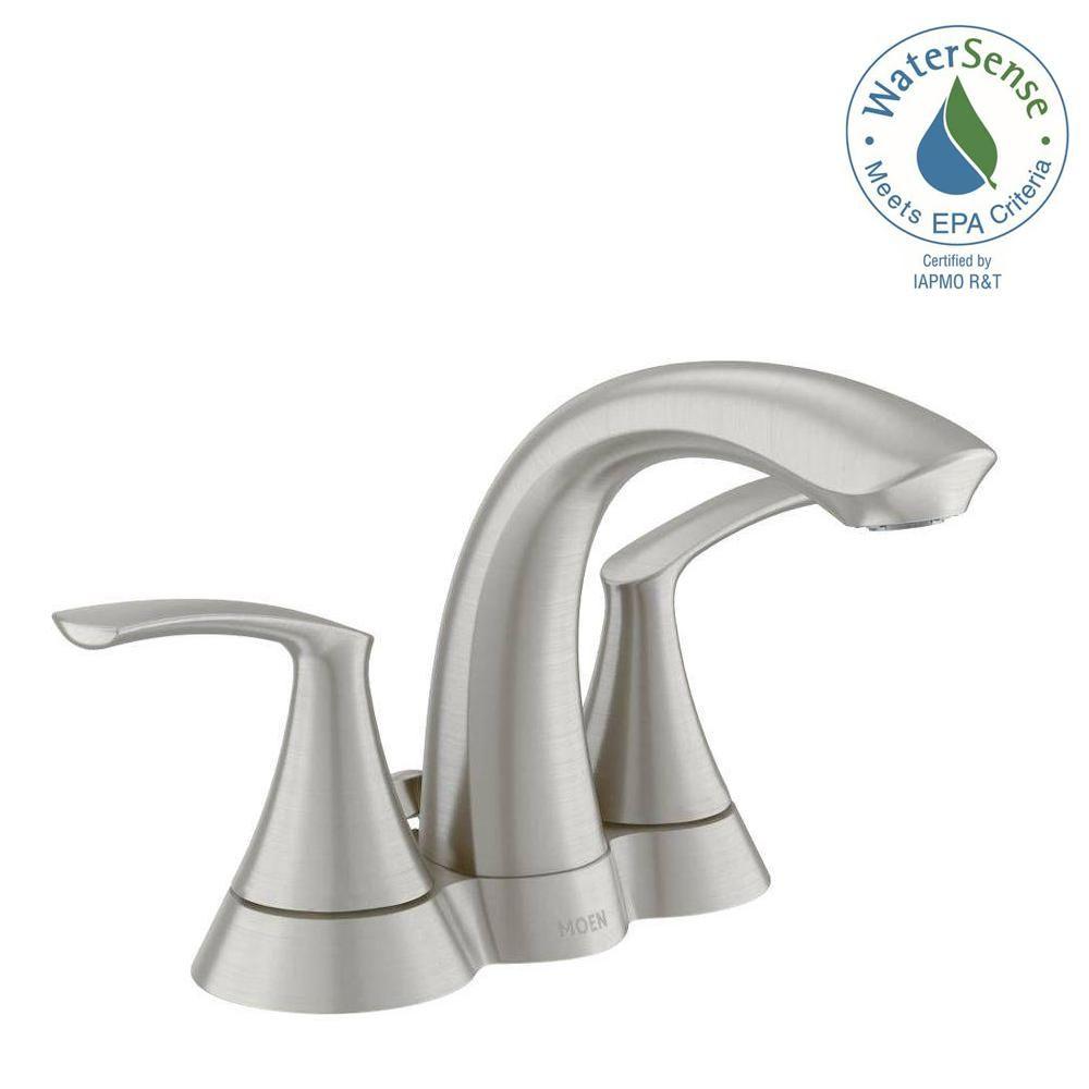 MOEN Darcy 4 in. Centerset 2-Handle Bathroom Faucet in Spot Resist ...