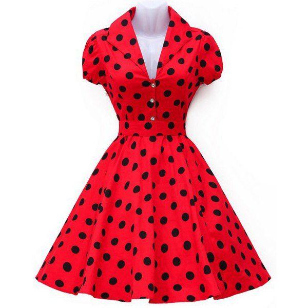 $17.98 Vintage Turn-Down Collar Polka Dot Print Big Hem Women's Dress