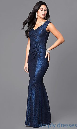 Navy Blue Glitter And Lace Floor Length Prom Dress That