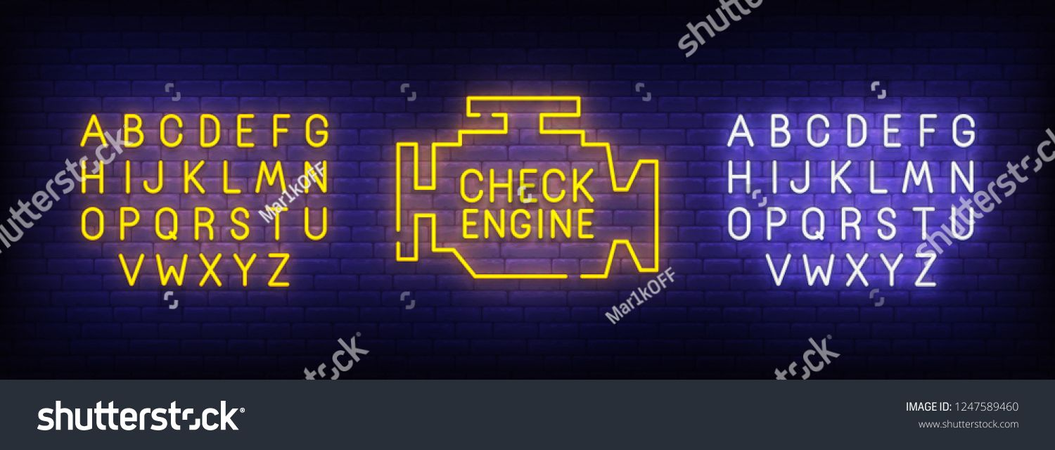 Check Engine neon sign, bright signboard, light banner