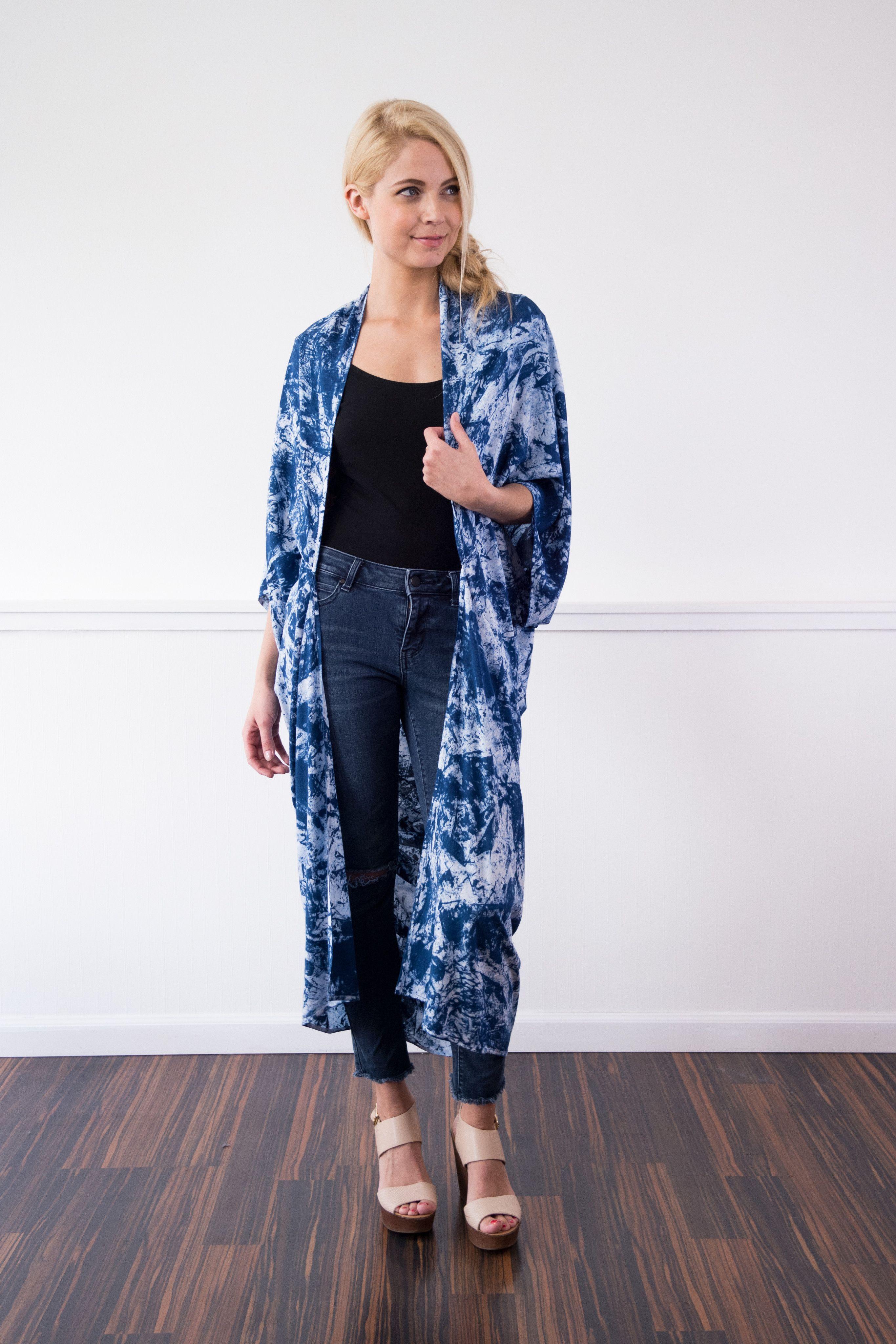 Handdyed robe long kimono acid wash indigo products pinterest