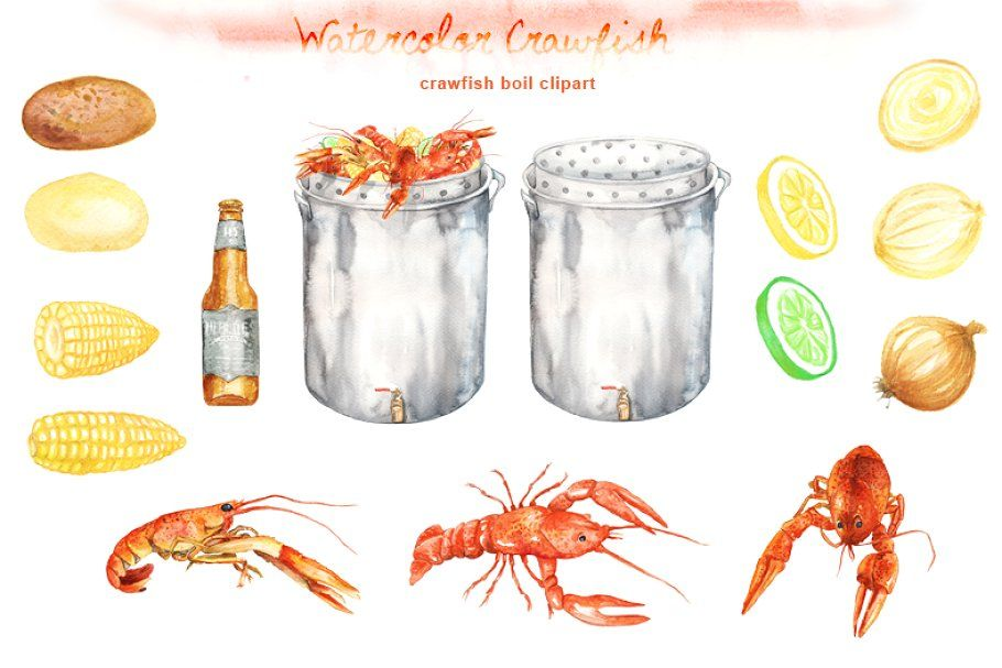 Watercolor crawfish Cliparts Clip art, Graphic design