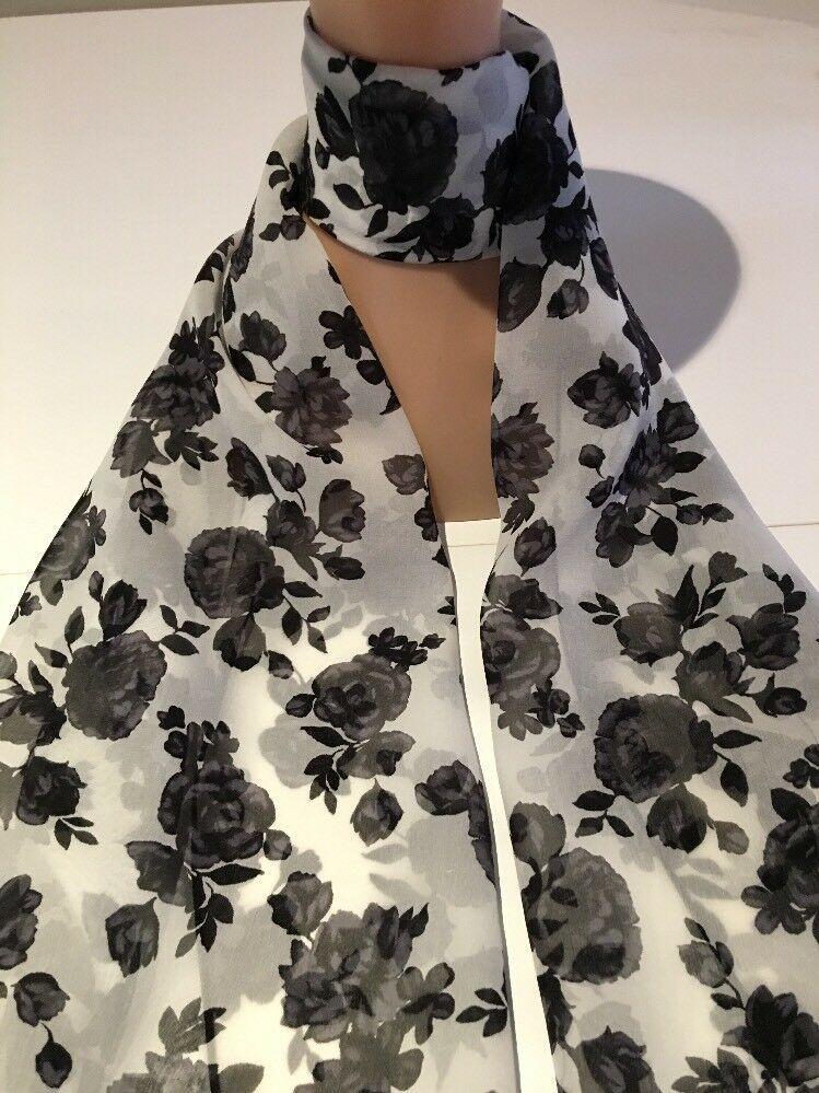 100 Silk Scarf Black Roses On White Crepe De Chine Dÿ Dÿ º Crafted 53x182cm Ebay Silk Chiffon Scarves Women Shawl Stole Scarf
