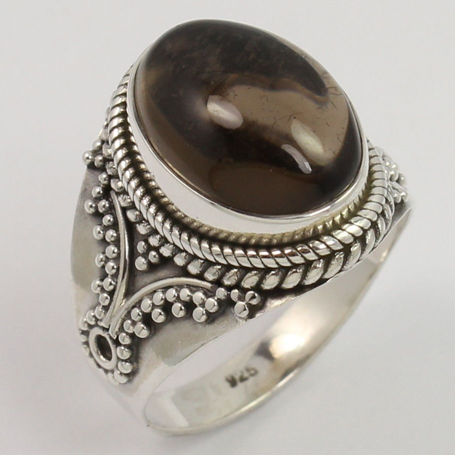 925 Sterling Silver Ethnic Style Ring Size US 7.75 Natural SMOKY QUARTZ Gemstone #Unbranded