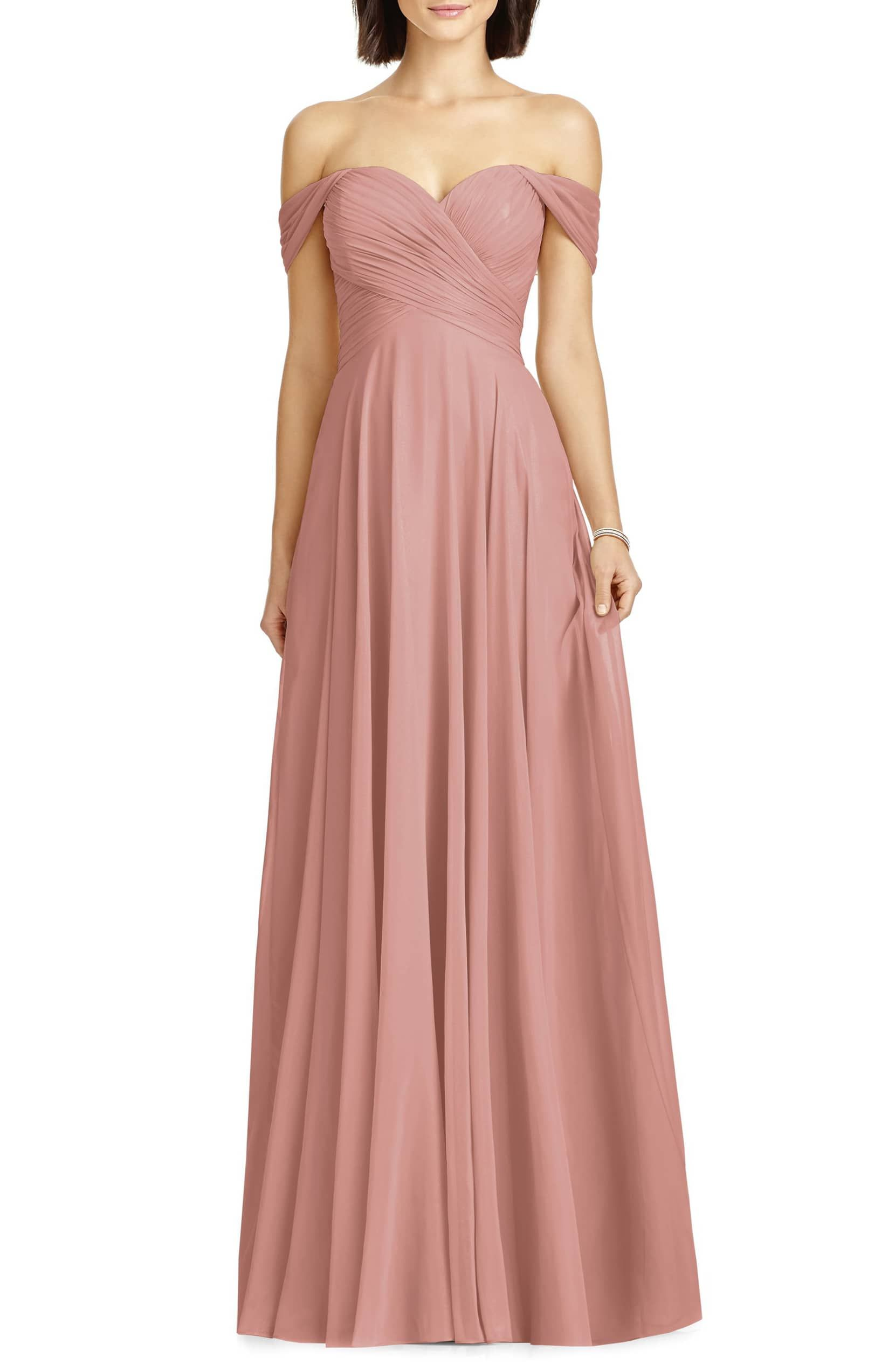 7545ad3860fe Dessy Collection Lux Off the Shoulder Chiffon Gown