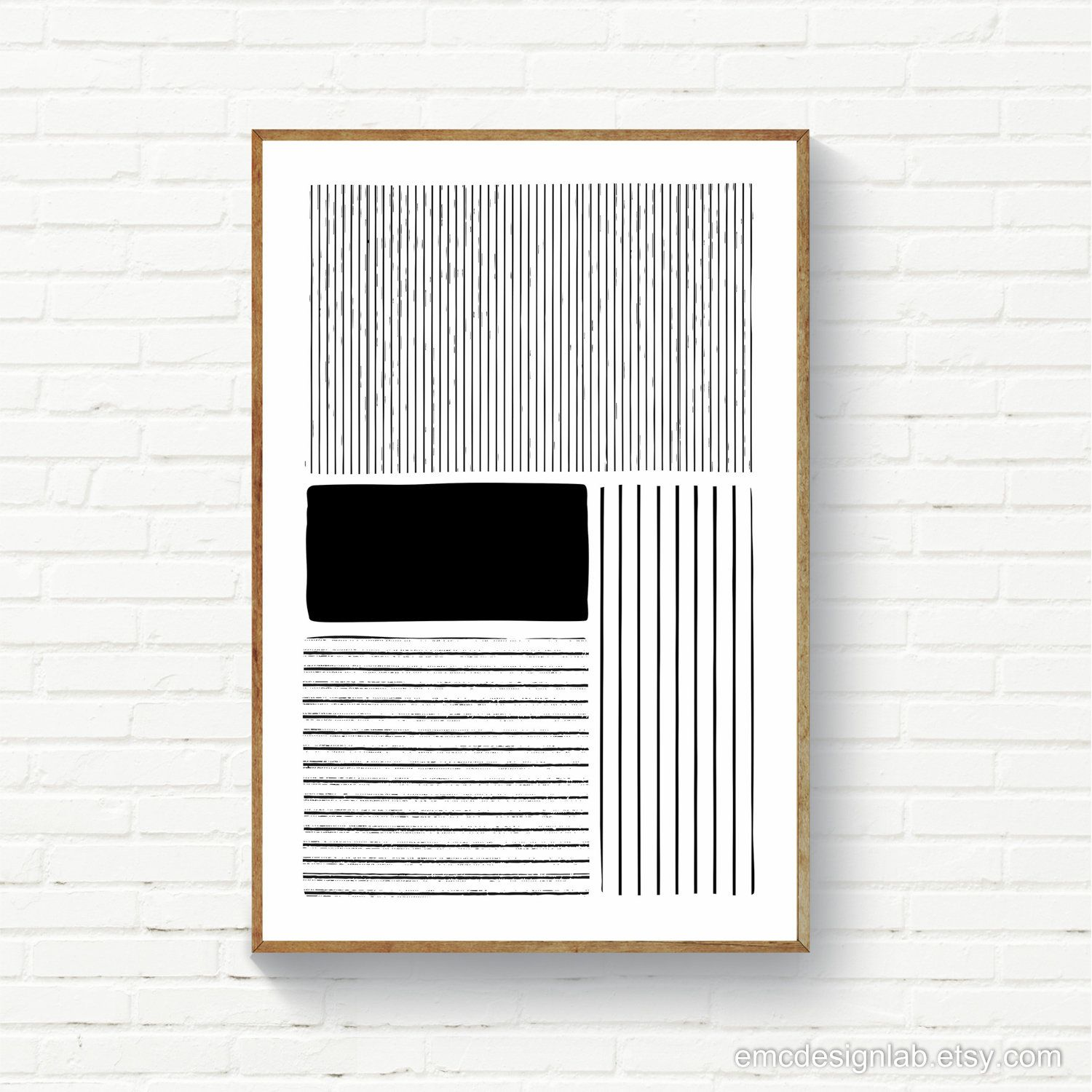 Black Lines Minimalist Wall Art / Abstract Black and White Print / Cotemporary / Modern / Minimalist Bedroom Art / Printable Original Decor