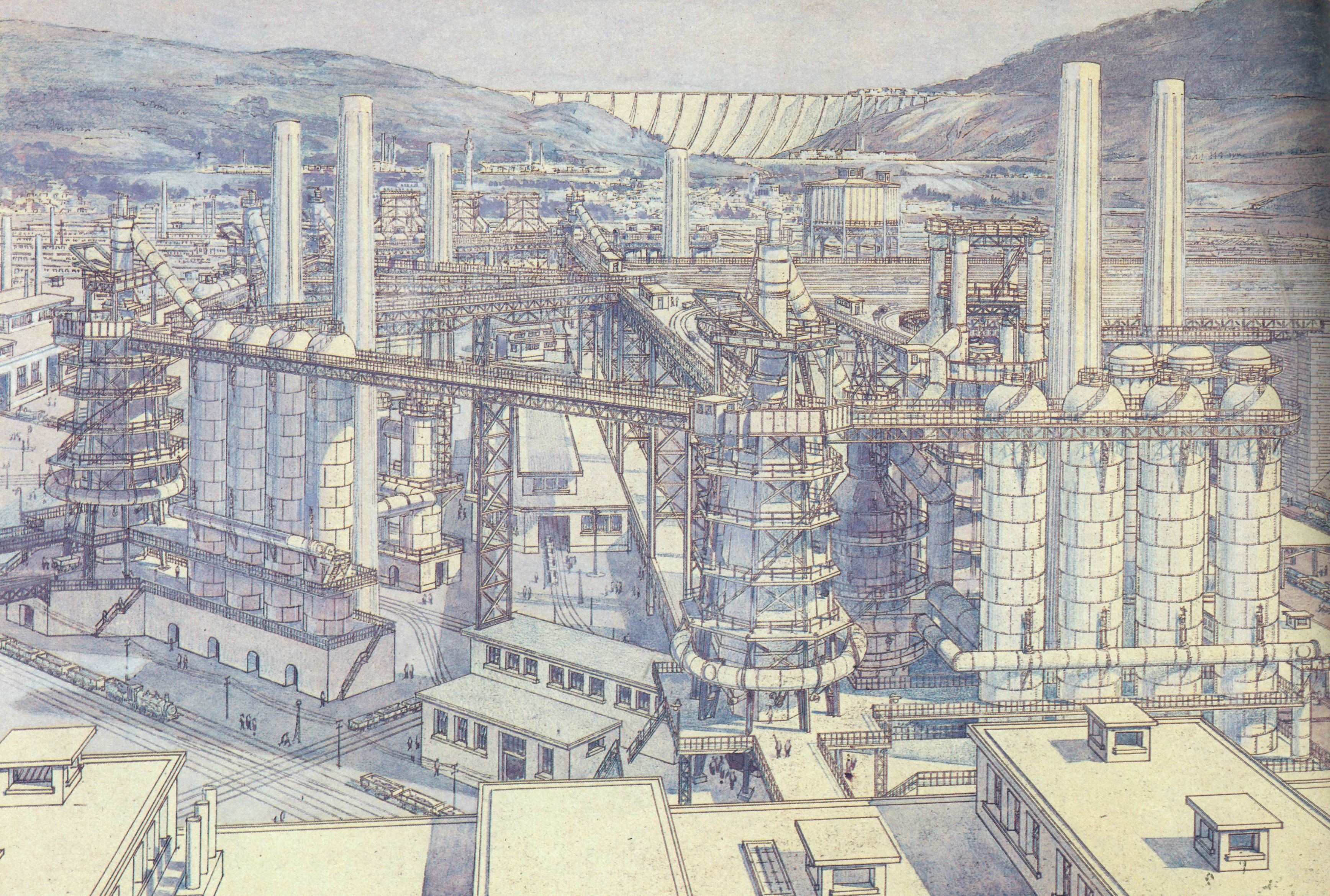 Tony garnier la cite industrielle 1917 metallurgical for Architecture industrielle