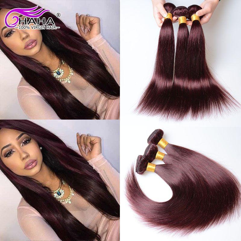 7a 99j Red Peruvian Straight Human Hair Extensions 3pcs Lot 100g