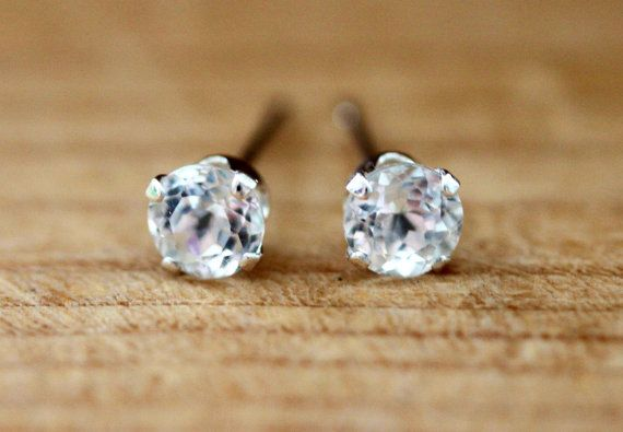 White Topaz Stud Earrings  Sterling Silver with by #madebymoe #etsy