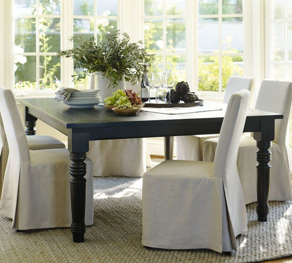 Country Style Pottery Barn Dining Room Design With Dark Grey Wooden Rectangular Table And