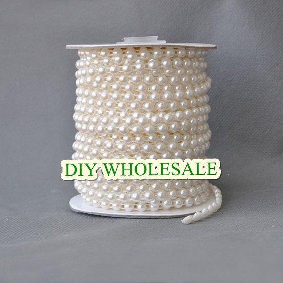 Nouveau arrivé en stock ! 50 mètres 4 mm perle mariage partie demi rond chaînette de brides DIY main bouquet matériaux décoratifs