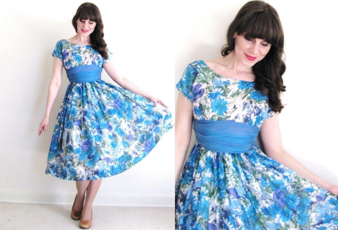 50s Dress / 50s Garden Party Dress / Blue 1950s Dress | Dress blues ...