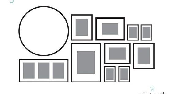 Gallery Wall arrangement for over the couch. Reframe