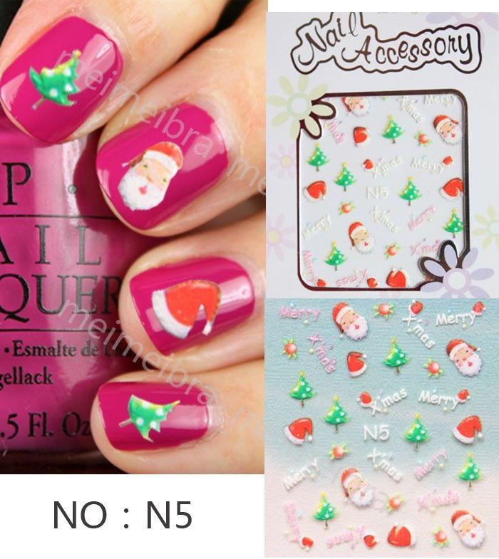 Nail decals nail stickers stereoscopic 3D Santa Claus Christmas Snowman Suzuka
