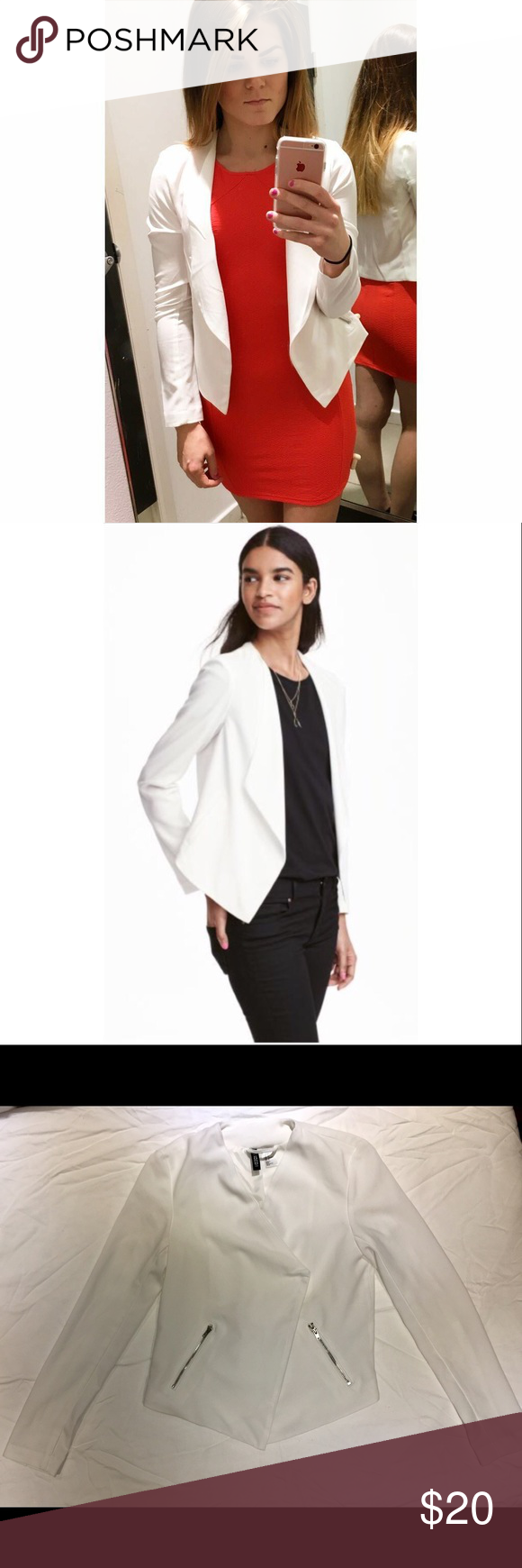 Draped blazer-like jacket Worn once! Perfect condition draped jacket. Blazer style. Can be worn while dressing up, or casually with jeans.  NO LOW BALL OFFERS PLEASE!  Thank you in advanced! H&M Jackets & Coats