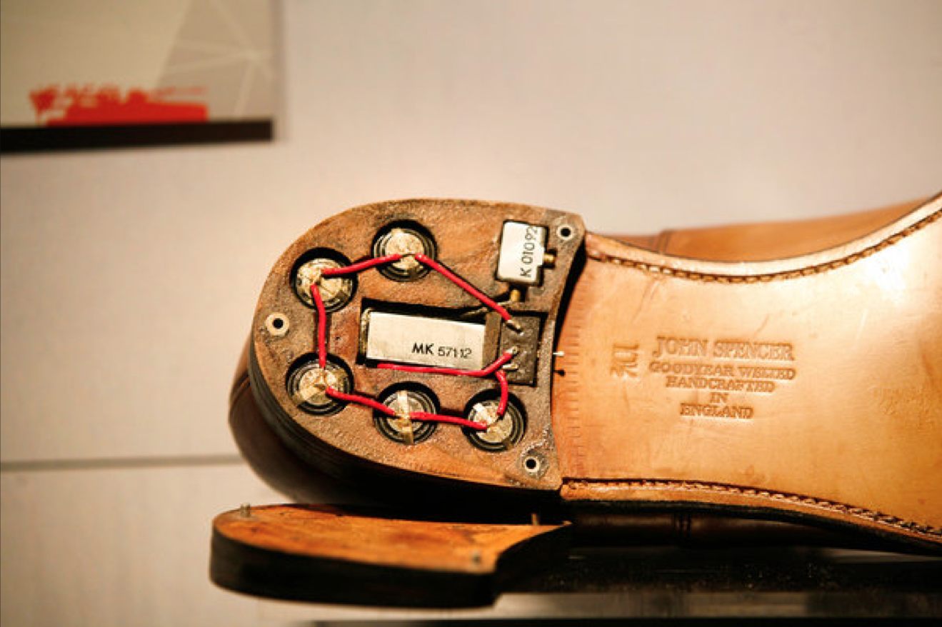 Spy Shoe with radio transmitter concealed in the heel, used