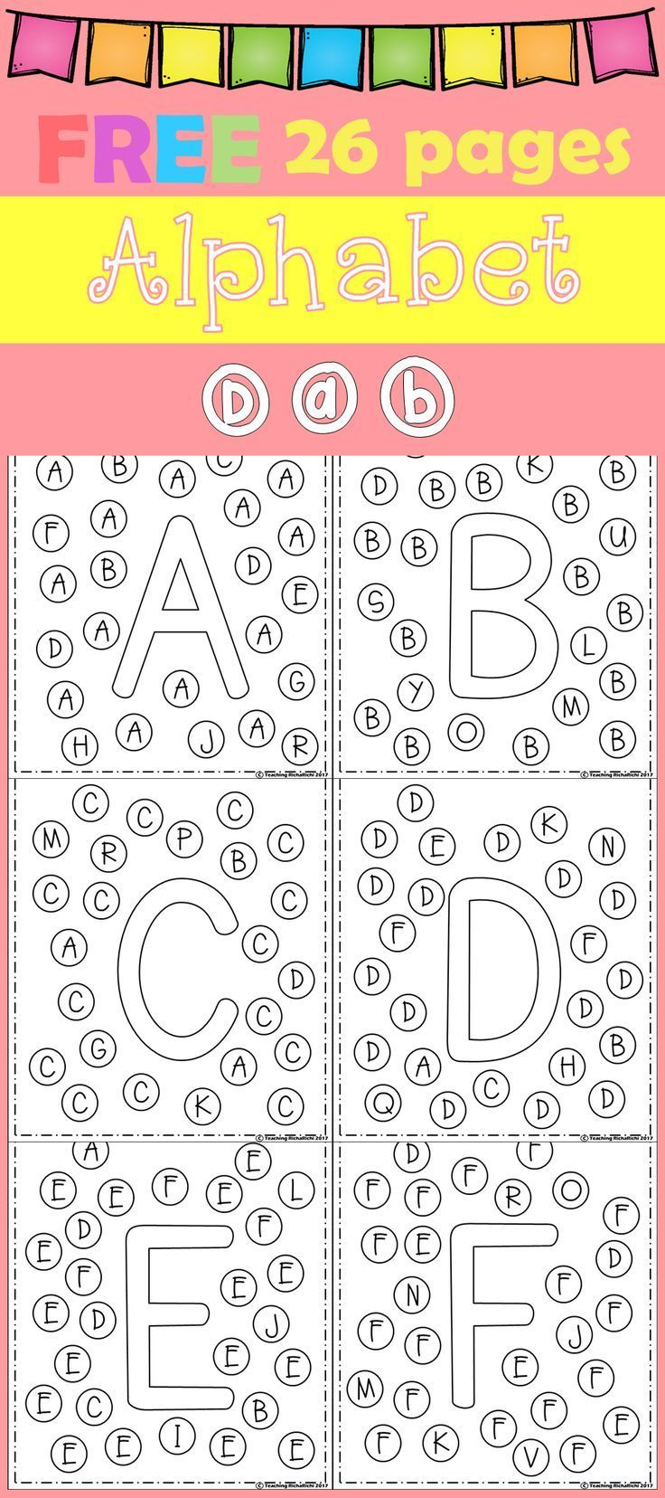 FREE Freebies Alphabet Dap AZ 26 pages. For PreK and