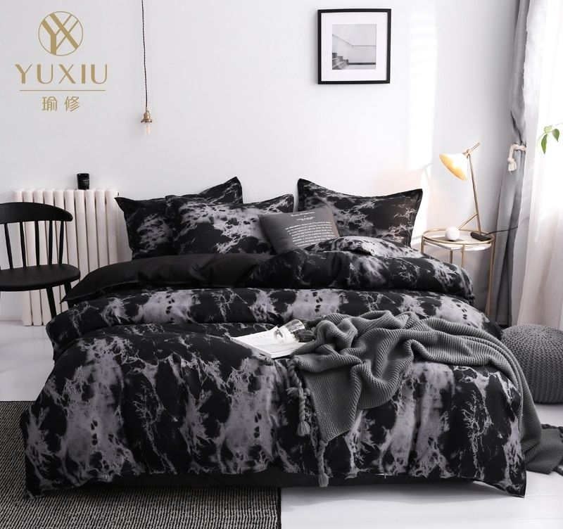 Yuxiu Classic Black Pink Solid Printed Duvet Cover Sets Bedding Set 3pcs Bed Linens Marble Quilt Covers 200x200cm Black Bed Set Black Bedding Bed Quilt Cover