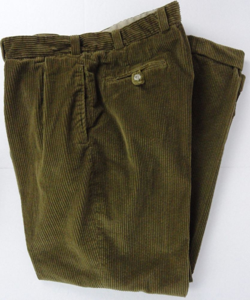 Bills Khakis Men 38X31 Corduroy Pant Olive Green Cuffed Pleated ...