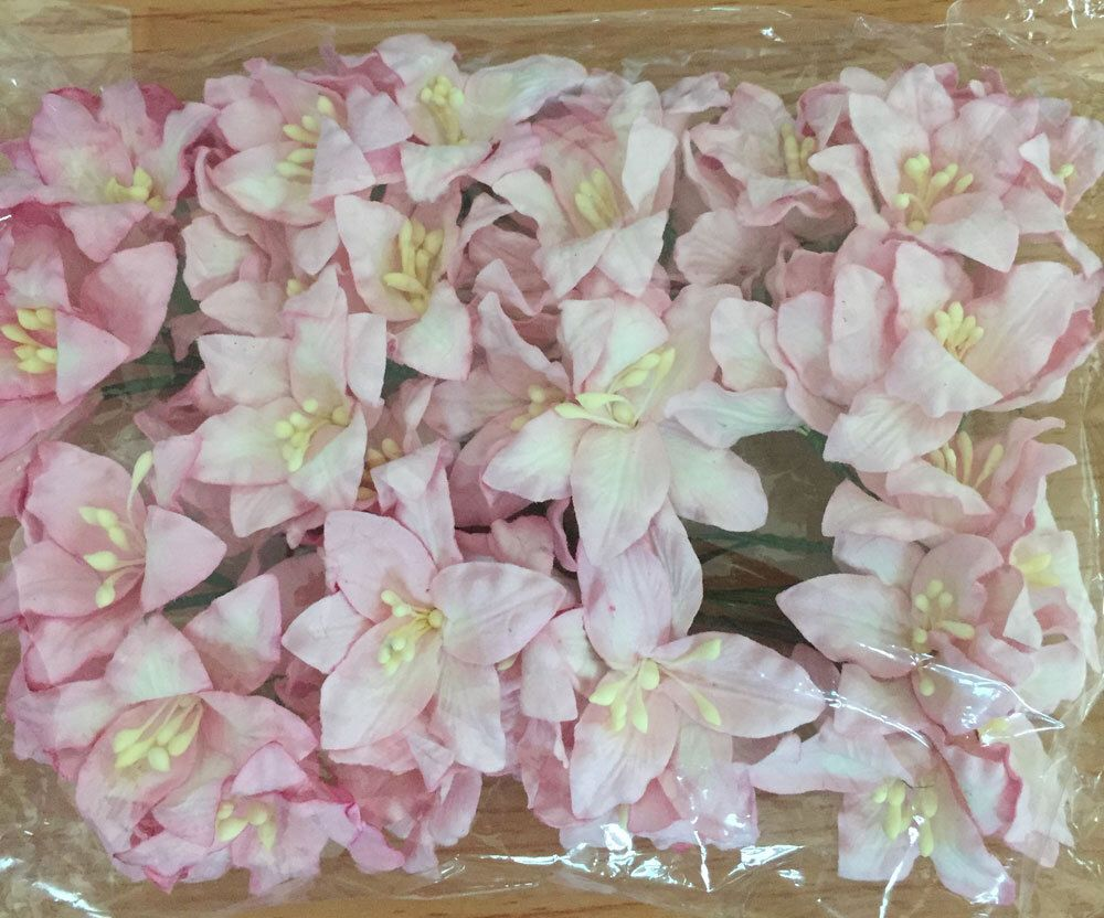 50 x sweet pink color mulberry lily paper flowers size 3 cm 12 50 x sweet pink color mulberry lily paper flowers size 3 cm 12 inch mightylinksfo