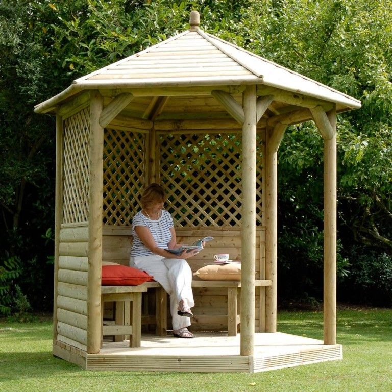 Exterior Beautiful White Wood Gazebo Kits With Fabulous Black Roof Blue Chairs Screen Walls From Small Yet Conveni Backyard Gazebo Wooden Gazebo Garden Gazebo