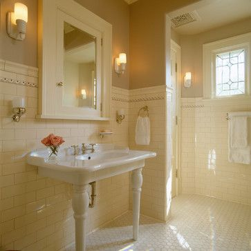 Traditional Bathroom Tile And Pedestal