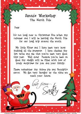Christmas Santa A Child S Letter From Santa On Craftsuprint