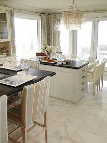 Suzie: Sarah Richardson Design   Lovely White Coastal Kitchen Design With  White Capiz . Like The Tile Pattern