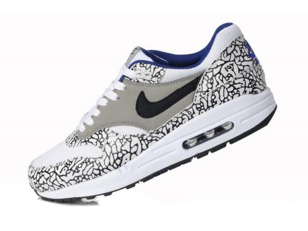 competitive price 480d7 2dfa3 Nike Air Max 1 Leopard Pack pour Femme Baskets basses Safari Blanc et Gris  et Bleusafari