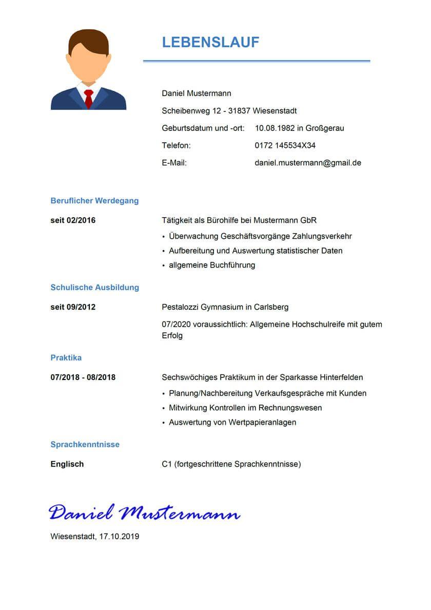 Musterbewerbung Um Eine Ausbildung Zum Bankkaufmann Ausbildung Schulische Ausbildung Beruflicher Werdegang