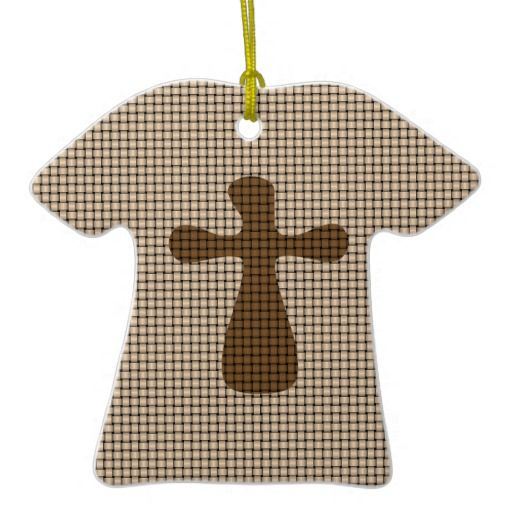 Woven Cross Christmas Ornaments -- fake or faux for a weave-like look shows well on this #ChristmasOrnament shaped like a t-shirt. Design by @auntieshoe . To see more like this go to http://www.zazzle.com/maryandjesus?rf=238656250999501047&tc=PINChristmasAnyOrn