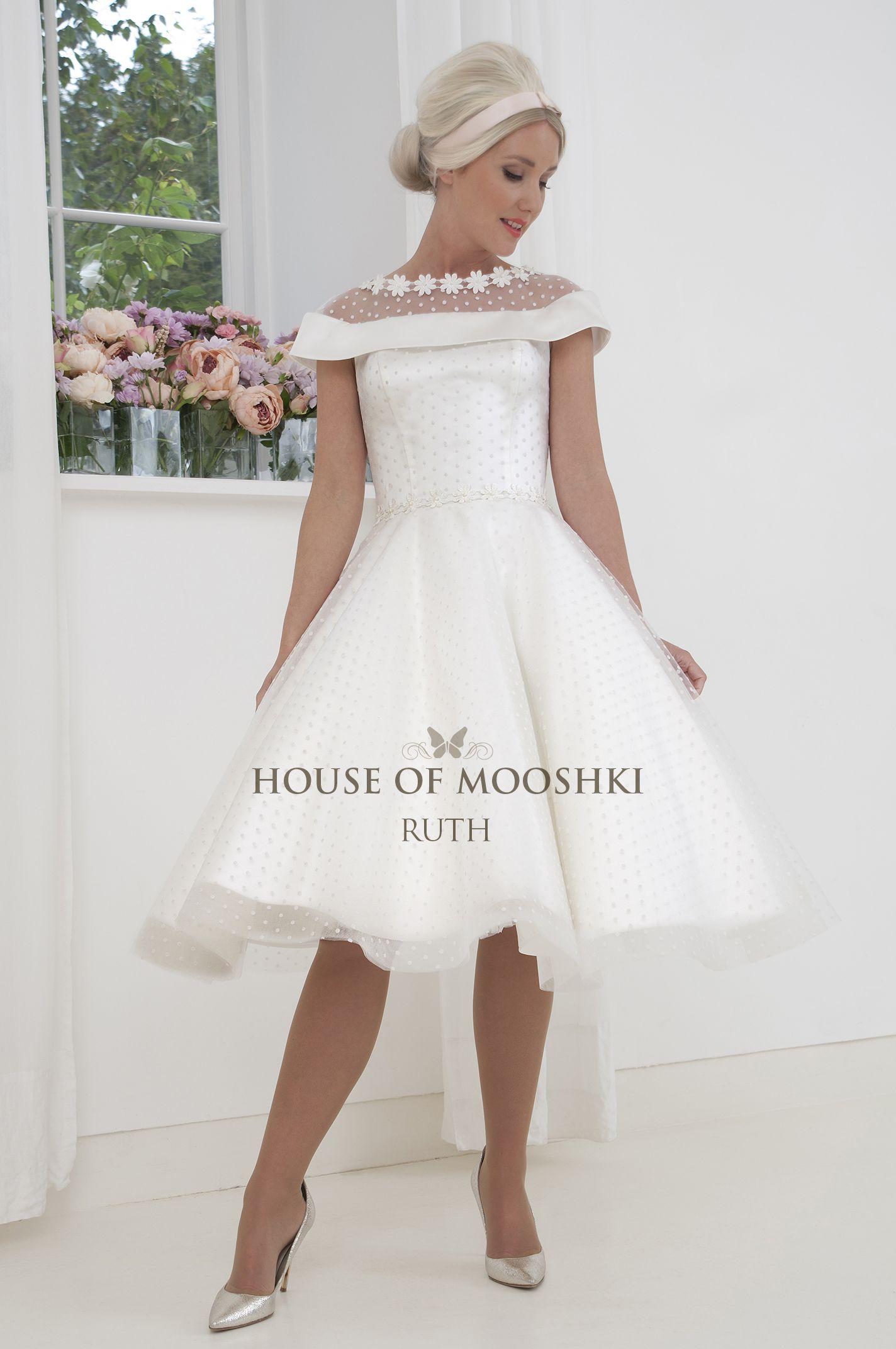 Super Cute Spotty Short Tea Length Wedding Dress With Bardot Neckline And Illusion Across The Sh Wedding Dresses Tea Length Wedding Dress Perfect Wedding Dress [ 2144 x 1424 Pixel ]