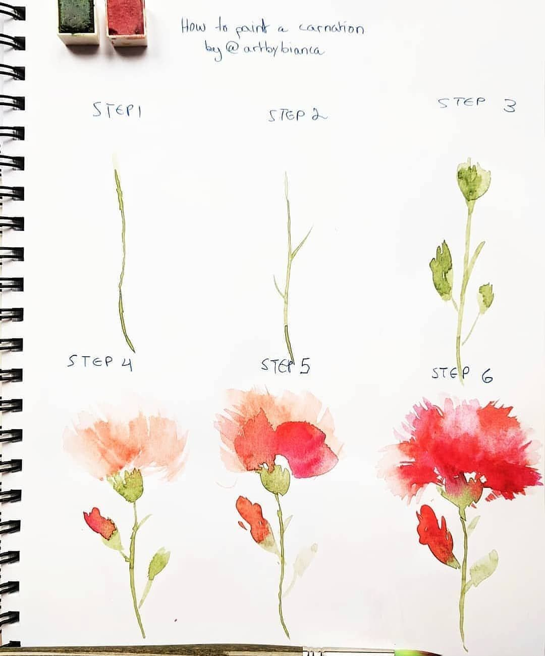 How To Paint A Carnation Artbybianca Botanicalart Howtopaint Arttutoria Watercolor Flowers Tutorial Watercolor Paintings Tutorials Flower Drawing Tutorials