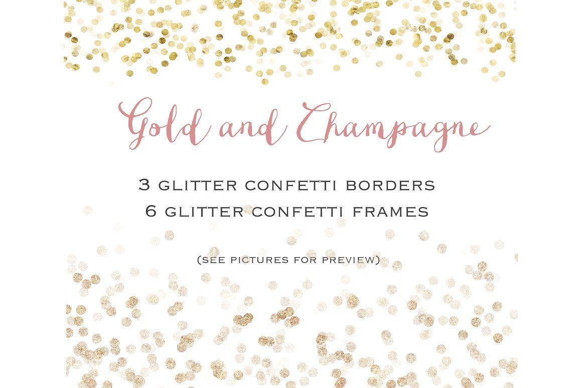 glitter confetti confetti borders confetti frame confetti frames gold champagne christmas clip art christmas clipart christmas clipart borders new year