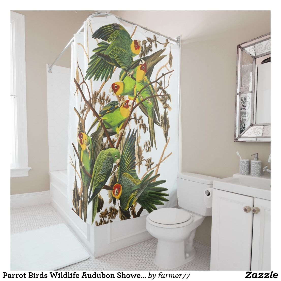 Parrot Birds Wildlife Audubon Shower Curtain Zazzle Com
