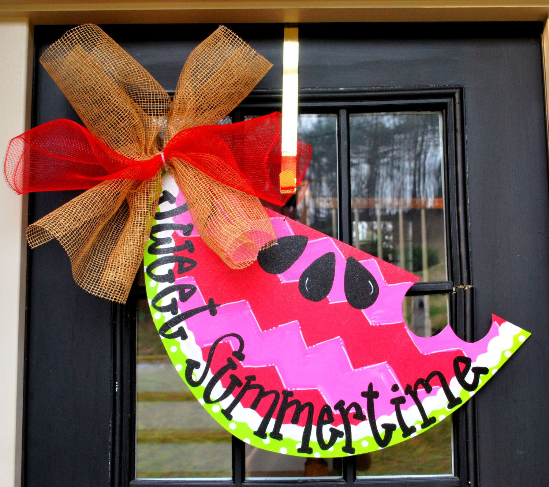 Beau Summer Door Hanger, Chevron Door Decor Watermelon Welcome Sign, Summer Door  Decoration, Summer Wreath. $45.00, Via Etsy.