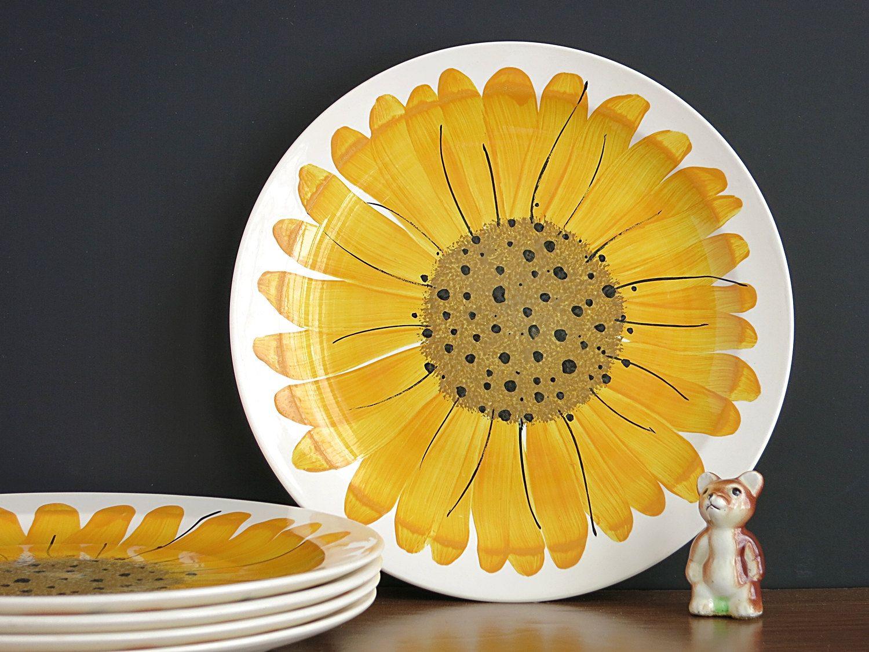 Vera Sunflowers Dinner Plates - Vera Neumann Island Worcester Sunflower Plates - Jamaican Jamaica Vera Large & Vera Sunflowers Dinner Plates - Vera Neumann Island Worcester ...