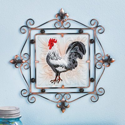 Country rooster glass wall art from collections etc