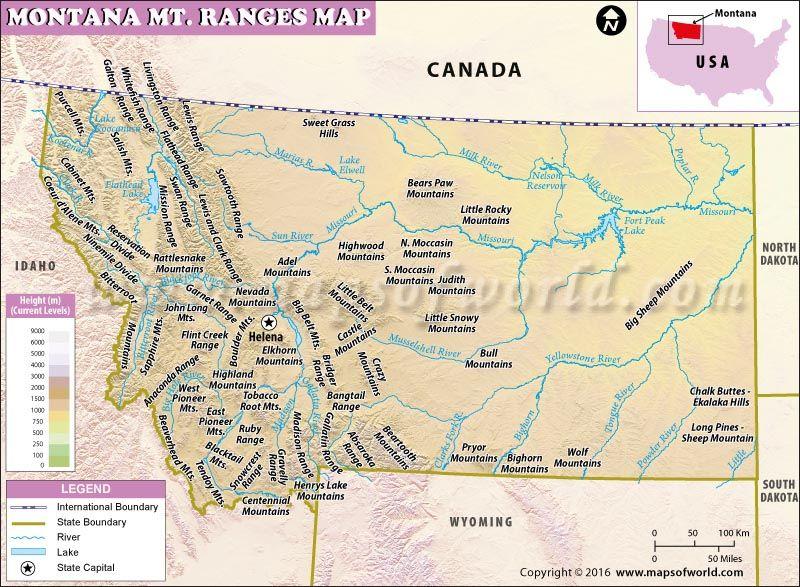 Montana Mountain Ranges Map USA Maps Pinterest Mountain - Usa map with mountains