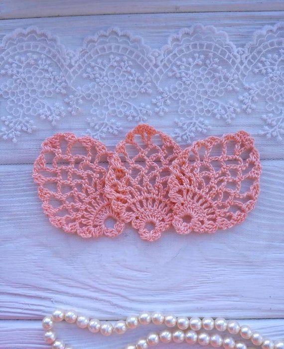 3 crochet elements. Crochet leaf. Crochet lace. Crochet applique. Peach lace. Crochet leaf #crochetelements