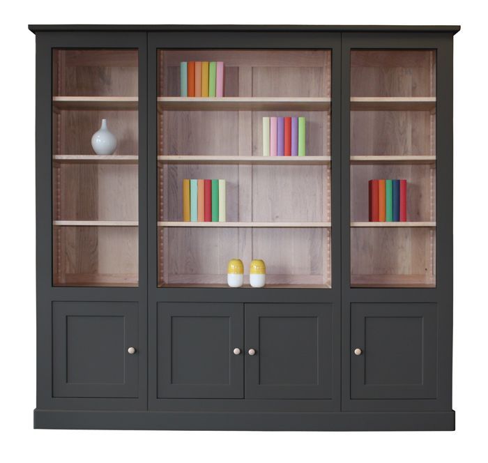 11480 Bibliotheque 4 Portes Ouverte Chene Blanchi Laque Gris Fonce Noir Bois Massif Fabricant Fr Avec Images Mobilier De Salon Meuble Chene Meuble Contemporain