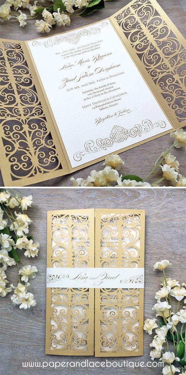 wedding stationery folders%0A Ivory and Gold Laser Cut Wedding Invitation  Metallic Gold Laser Cut  Gatefold invite with Ivory