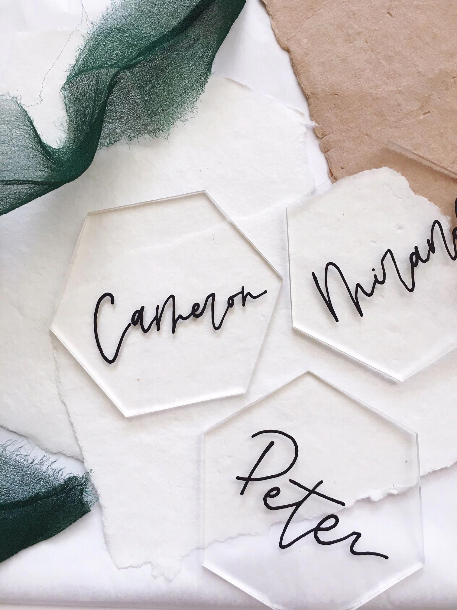 Hand Lettered Escort Cards Acrylic Escort Cards Modern Calligraphy Modern Wedding Place Cards Hand Lettered Tile Modern Wedding
