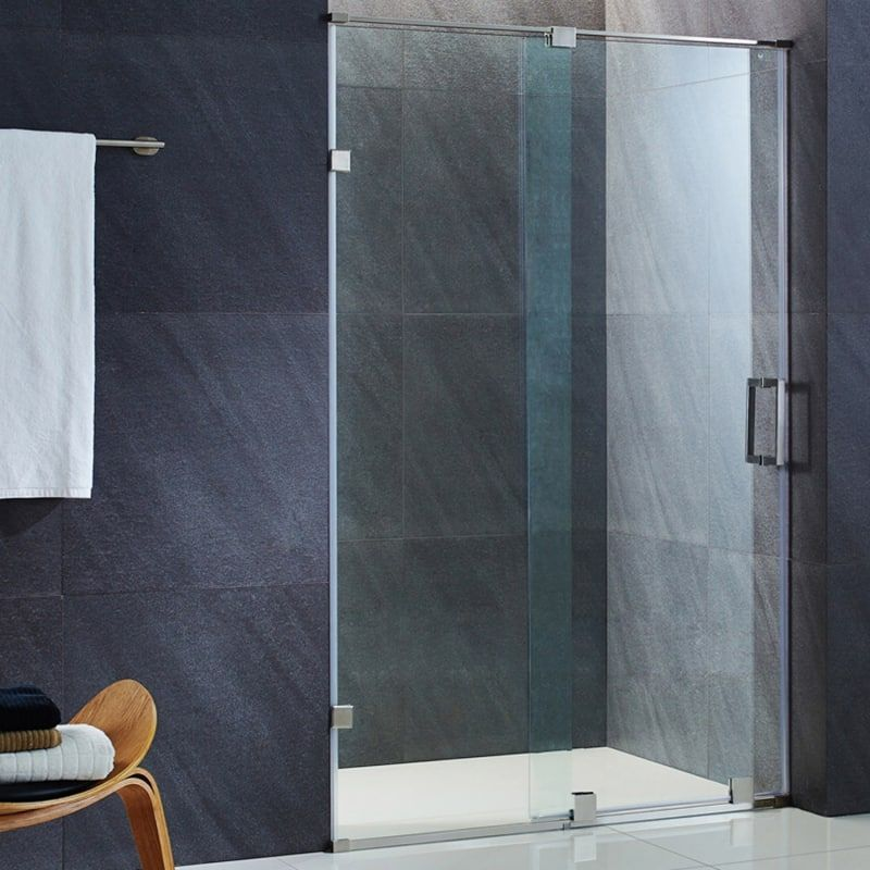 Vigo Vg604550 Ryland 71 1 2 High X 27 1 2 Wide Sliding Frameless Shower Door W Clear Stainless Frameless Shower Doors Frameless Shower