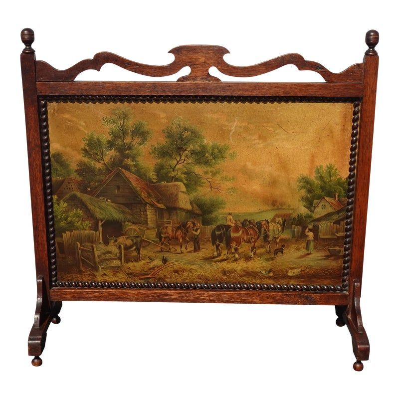 Vintage French Country Hand Painted Country Setting Fireplace
