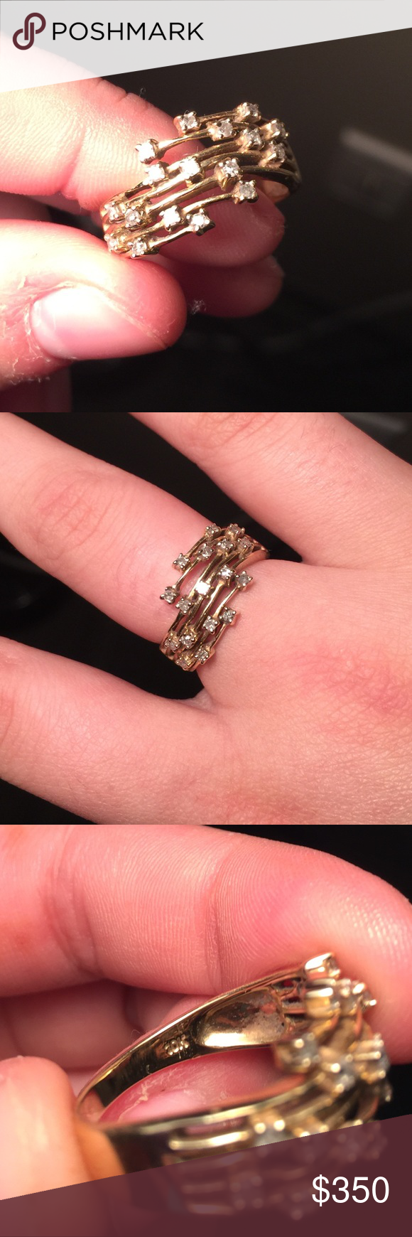 Custom 10K gold and diamond ring was a custom ring. very unique. all ...